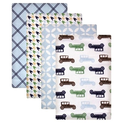 Hudson Baby 4pk Flannel Receiving Blanket - Cars