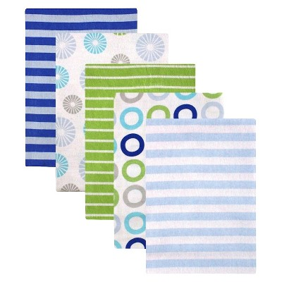Luvable Friends 5-Pack Receiving Blankets Blue