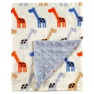 Hudson Baby Printed Mink Baby Blanket - Blue