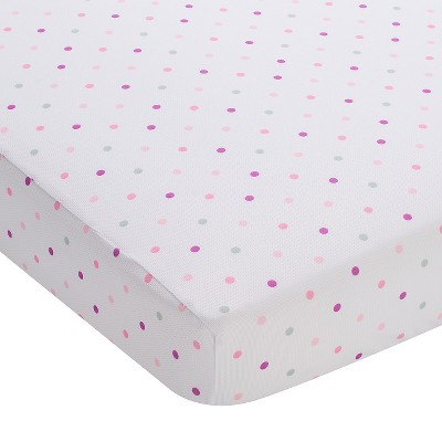 Fitted Crib Sheet BreathableBaby Pink Dot