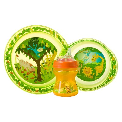 Evenflo Zoo Friends 3pc Toddler Feeding Set with Plate, Bowl and Cup