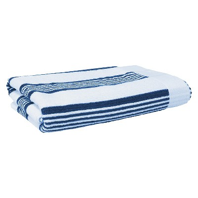 Blank Home Hampton Stripe Portuguese Bath Towel - White/Ocean