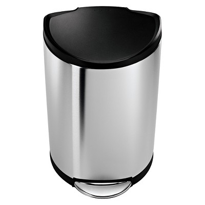 simplehuman studio 40 L Semi Round Step Trash Can - Brushed Stainless Steel with Plastic Lid