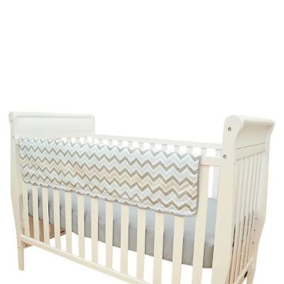 TL Care Crib Rail Cover Blue and Gray Zig Zag