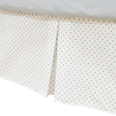 TL Care 100% Cotton Tailored Bed Skirt with Pleat White With Gray Dot