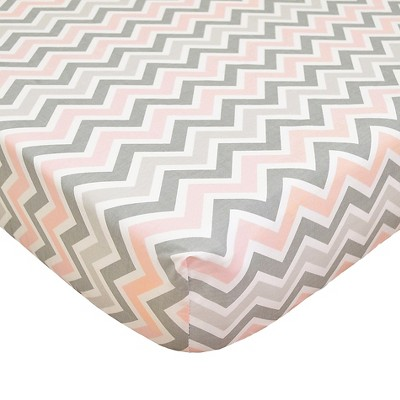 TL Care 100% Cotton Percale Fitted Crib Sheet Pink and Gray Zig Zag