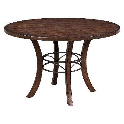 Cameron Round Wood Table with Metal Ring Brown - Hillsdale