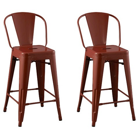 Carlisle Backed 24 Counter Stool Steel Set Of 2 Target
