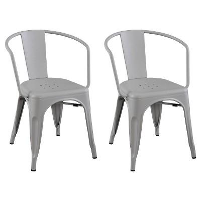 Carlisle Metal Dining Chair - Gray (Set of 2)