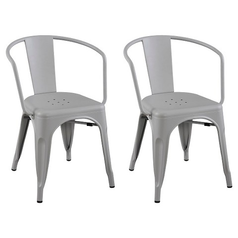 Carlisle Metal Dining Chair Set of 2 Tar