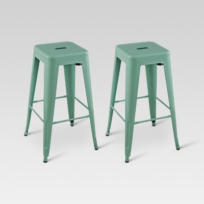 "Carlisle Metal 29"" Barstool - Mint Green (Set of 2)"