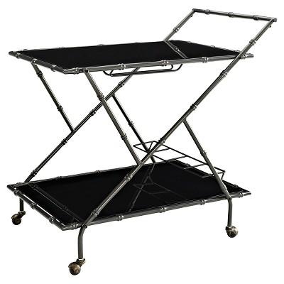 Powell Corbett Glass and Bamboo Bar Cart - Black