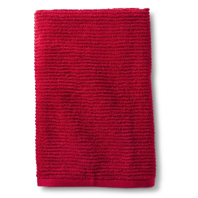 Blank Home Ribbed Portuguese Bath Towel - Ruby Red