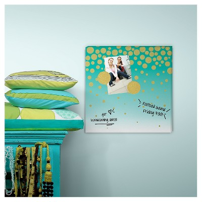 RoomMates Dry Erase Bulletin Board, Turquoise with Gold Dots