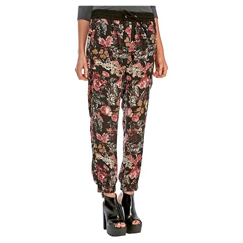 Fantastic Blue Inc Woman Womens Black Floral Print Jogger Leggings