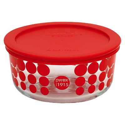 Pyrex 100 Year Decorated Storage 4 Cup - Red