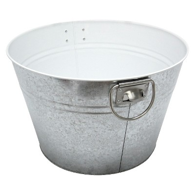 Calibrated Galvanized Steel Round Beverage Tub - Silver