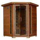 Radiant Saunas 4-Person Cedar Corner Carbon Infrared Sauna with 10 Heaters
