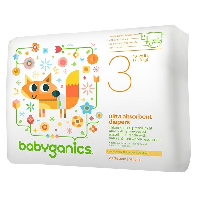 Babyganics Ultra Absorbent Disposable Diapers - Size 3  (31 Count)