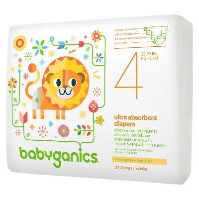 Babyganics Ultra Absorbent Disposable Diapers - Size 4  (27 Count)
