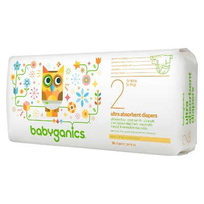 Babyganics Ultra Absorbent Disposable Diapers - Size 2  (36 Count)