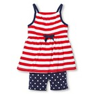 Toddler Girls' Striped Tank & Polkadot Bike Short Set - Red Pop