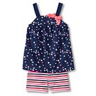 Toddler Girls' Star Tank & Striped Bike Short Set - Nightfall Blue