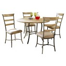 Charleston 5-Piece Round Metal and Wood Table with Ladder Back Chairs
