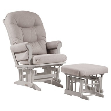 Dutailier Ultramotion Sleigh Glider with Glide/Lock/Recline Modes and Ottoman (White/Light Grey)