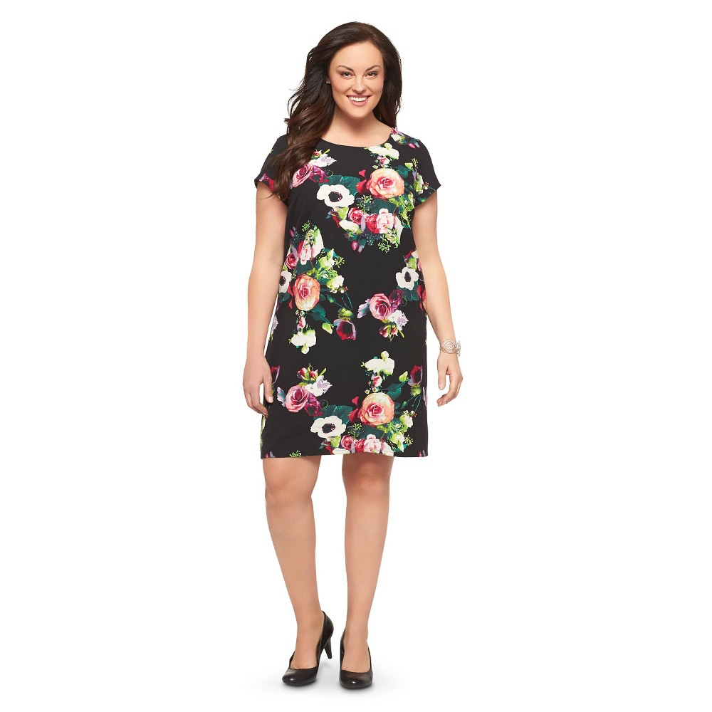 Women's Plus Size Short Sleeve Dress Black/Pink Merona