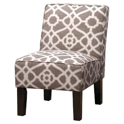 Burke Accent Print Slipper Chair - Pavillion Fretwork Dove
