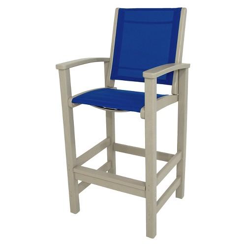 Polywood Coastal Patio Sling Bar Height Chair Beige