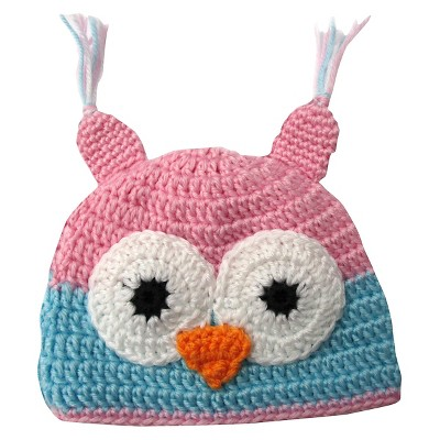 Newborn Girls' Crocheted Owl Hat - Pink 0-6 M