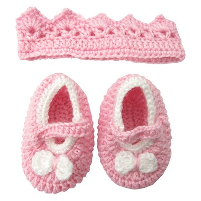 Newborn Girls' Crocheted Crown Accessory Set - Pink 0-6 M