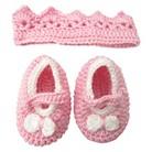 Newborn Girls' Crocheted Crown Accessory Set - Pink 0-6 M