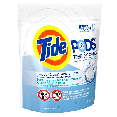 Tide PODS Free & Gentle Laundry Detergent Pacs - 14 Count