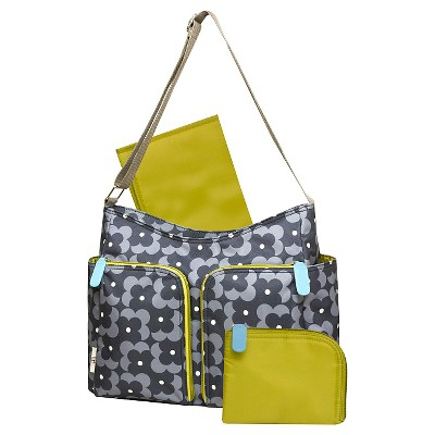 Orla Kiely Two Pocket Diaper Bag - Gray Floral Print