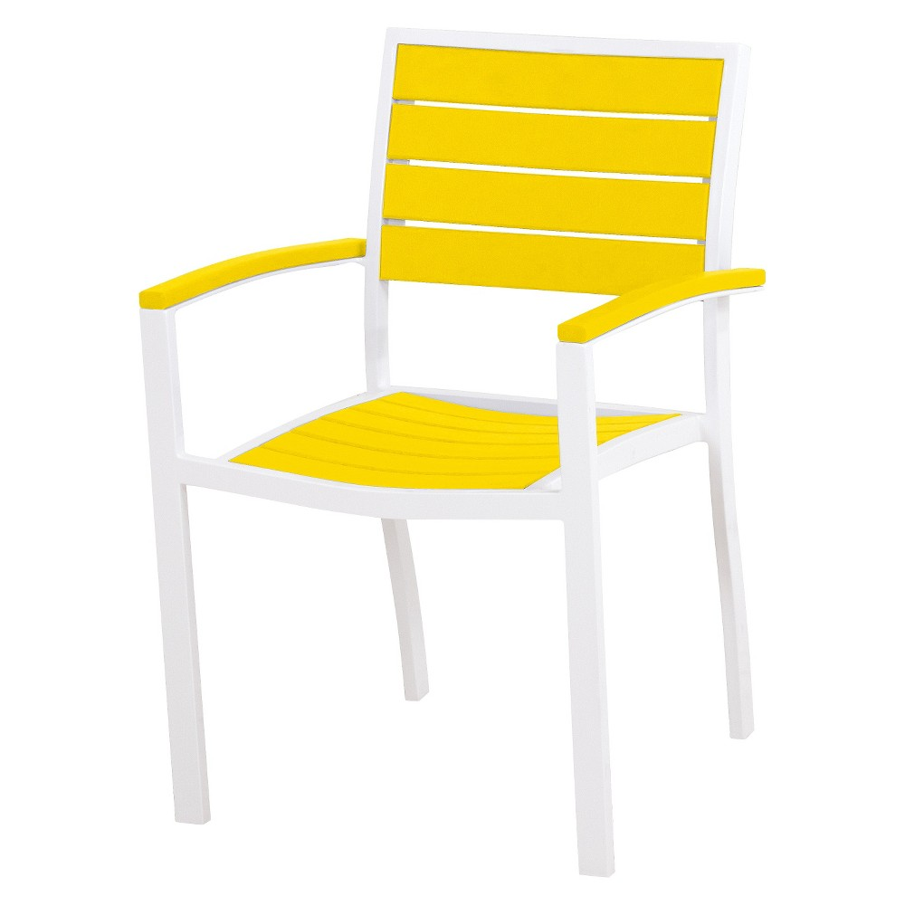 Patio Dining Chair: Polywood Euro 2-Piece Patio Dining Arm Chair Set: White/Yellow, Wht/Yellow