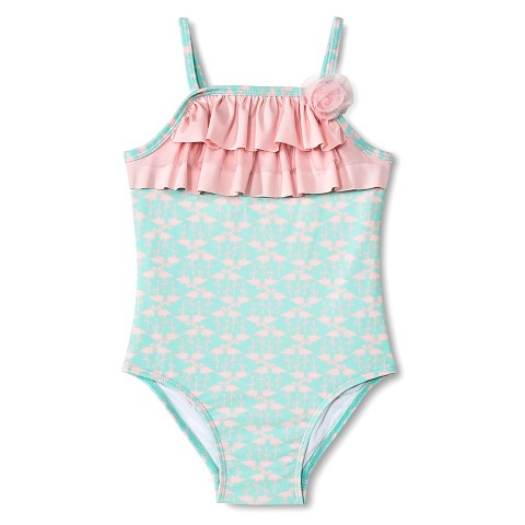 Baby Girls' Flamingo One Piece Swim Suit - Mint