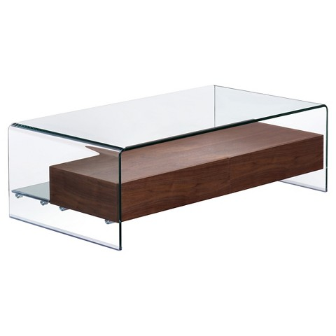 Shaman coffee table clear walnut zuo target Clear coffee table