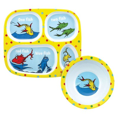 Bumkins Melamine Bowl and Divided Plate Set, Yellow Fish