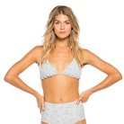 Women's Triangle Tieback Bikini Top Silver Floral - Tori Praver Seafoam