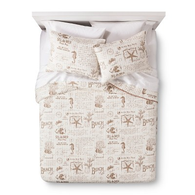 homthreads™ On the Beach Quilt Set - Tan/White (Full/Queen)