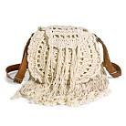 Women's Crochet Crossbody Circle Handbag with Fringe - Ivory