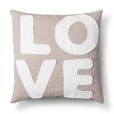 "Love Throw Pillow Tan (20""x20"")"
