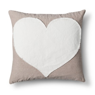 "Heart Throw Pillow Tan (20""x20"")"