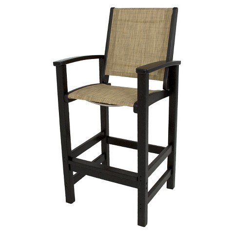 Polywood Coastal Patio Sling Bar Height Chair Target