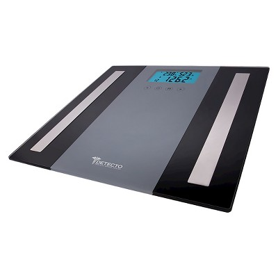 Detecto 5 in 1 LCD Digital Body Composition Glass Scale - Black/Silver