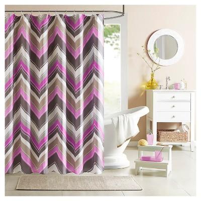 Eliana Geometric Print Microfiber Shower Curtain - Purple