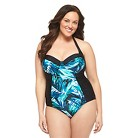 Women's Plus Size One-Piece Swimsuit Black/Blue-Ava & Viv